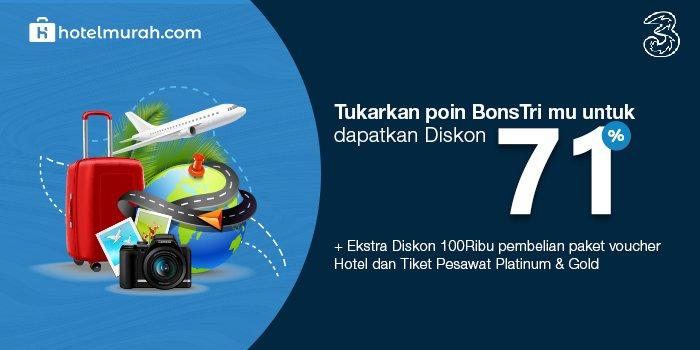 Diskon 71% + 100 rb Tiket Pesawat + Hotel