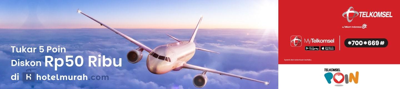 Diskon Rp 50.000 untuk Pembelian Tiket Pesawat di Aplikasi Hotelmurah.com
