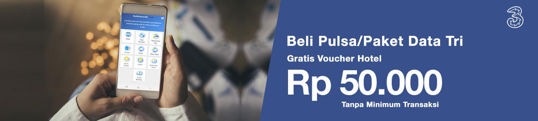 Beli Pulsa / paket data 3 Berapapun, Gratis Voucher Hotel Rp 50.000 melalui aplikasi Hotelmurah.com