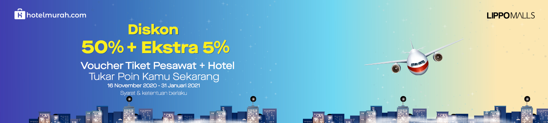 Diskon 50%+5% Paket Voucher Tiket Pesawat & Hotel khusus member aplikasi Styles