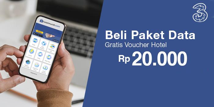Beli Paket Data 3 Berapapun Gratis Voucher Hotel Rp 20.000 melalui aplikasi Hotelmurah.com