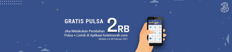 Gratis Pulsa 3 Rp.2000 jika membeli atau bayar token listrik berapapun melalui aplikasi Hotelmurah.com