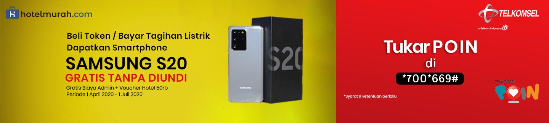 Bayar Listrik / Beli Token Gratis Biaya Admin + Gratis Voucher Hotel Rp 50 Rb  + Gratis Handphone Samsung Galaxy S20